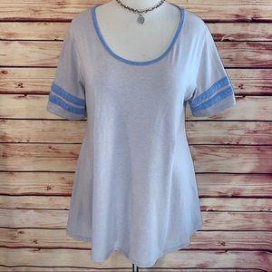 LuLaRoe Gray/Cornflower Varsity Stripe Perfect T